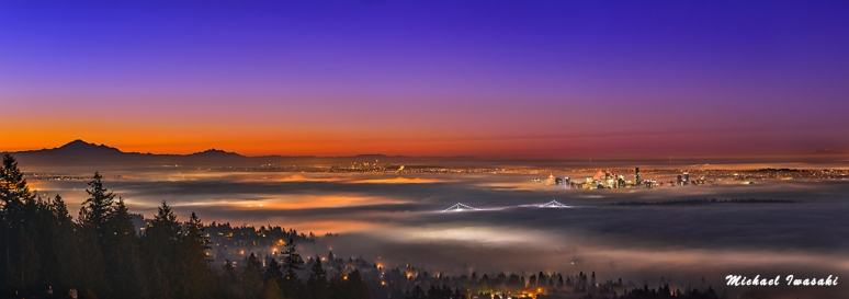 79 Vancouver Morning Sunrise Inversion Pano